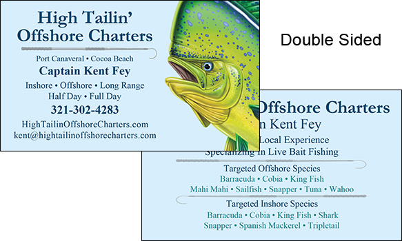 Business Card Design for High Tailin' Offshore Fishing Charters