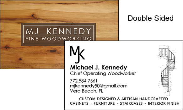 Business Card Design for MJ Kennedy Fine Woodworking