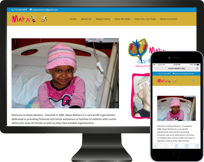 Maya Matters Website Redesign Project Children's Cancer Charity