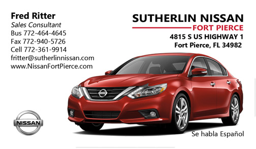Business Card Design for Sutherlin Nissan of Ft. Pierce